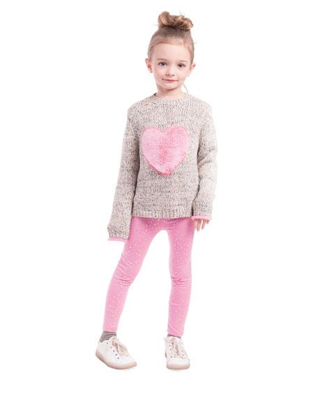 Girl's Multicolored Knit Sweater w/ Faux Fur Heart Patch, Size 7-14