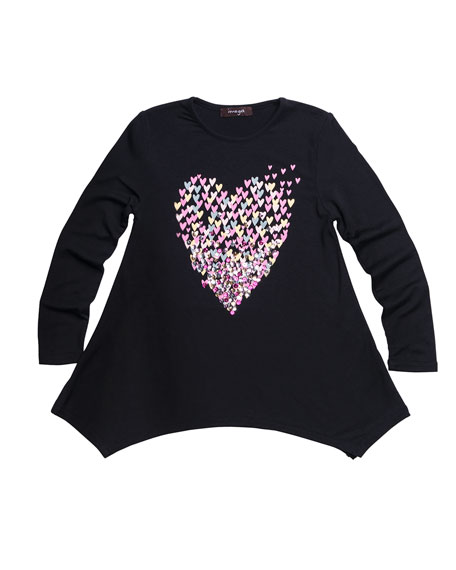 Multicolor Sequin Heart Graphic Jersey Tunic, Size 7-14