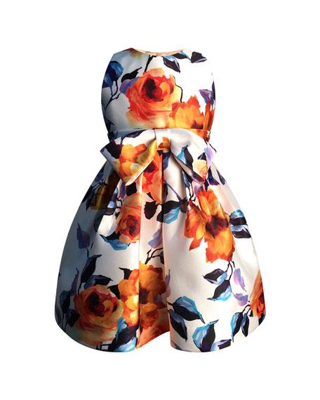 Bright Botanical Print Bow Dress, Size 2-6