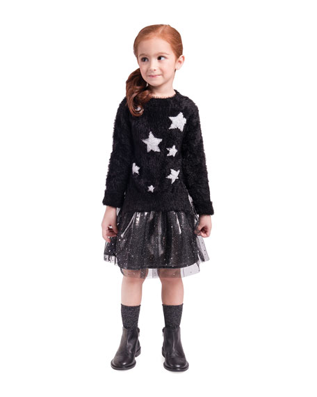 Sleeveless Chiffon Dress w/ Yarn Star Intarsia Sweater, Size 4-6