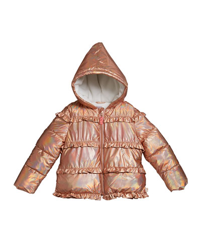 Girl's Puffer Hooded Jacket w/ Ruffle Trim  Size 4-12
