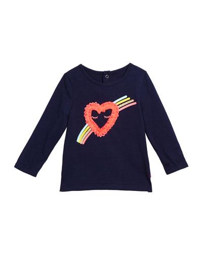 Girl's Heart & Rainbow Long-Sleeve Tee  Size 12M-3