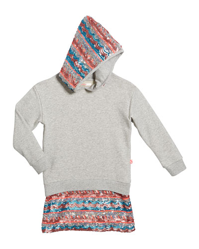 Girl's Long-Sleeve Hooded Sequin Trim Dress  Size 4-12