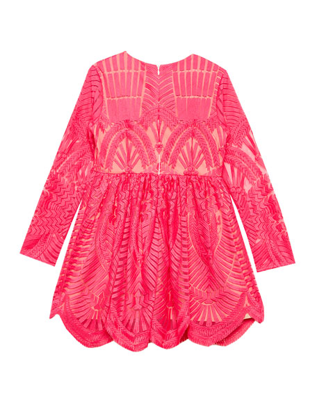 Embroidered Long-Sleeve Dress, Size 8-16