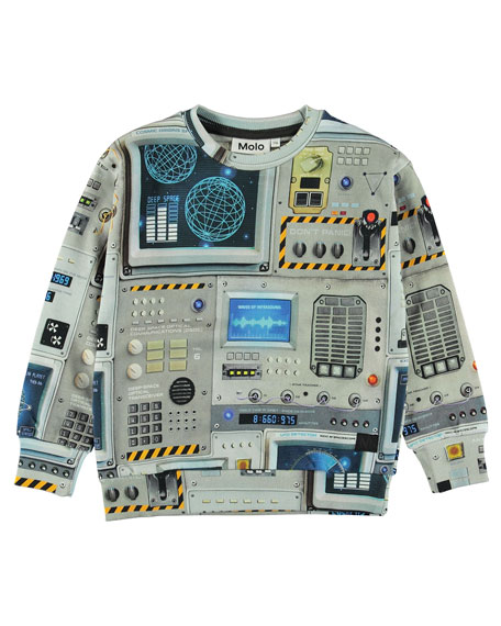 Madsim Spaceship Control Panel Print Sweatshirt, Size 4-12