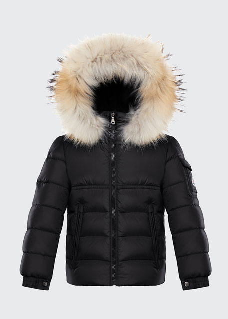 Image 1 of 1: Boy's New Byron Hooded Jacket w/ Fox Fur Trim, Size 4-6