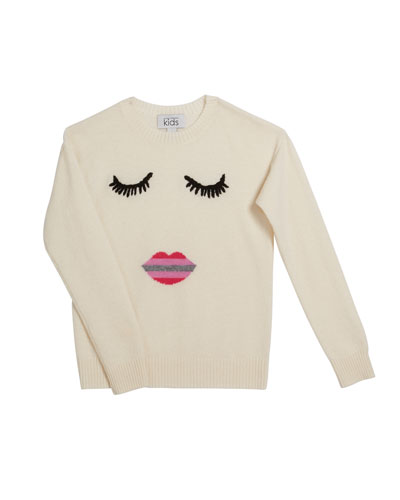 Face with Ombre Lips Crewneck Sweater  Size 8-16