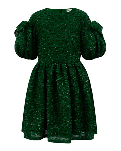 Boucle Sparkle Puffy Sleeve Dress  Size 4-8