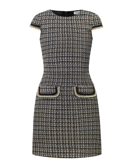 Image 1 of 1: Tweed Faux Pearl Trim Dress, Size 10-16