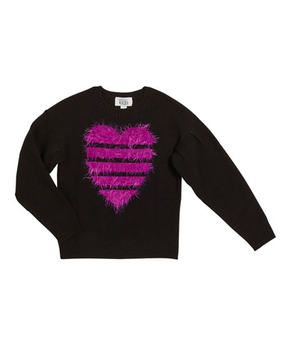 Fuzzy Striped Heart Sweater  Size 8-16