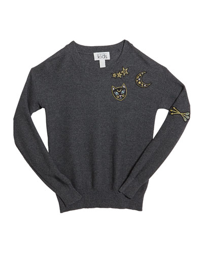 Honeycomb Crewneck Sweater w/ Cat & Moon Patches  Size 8-16