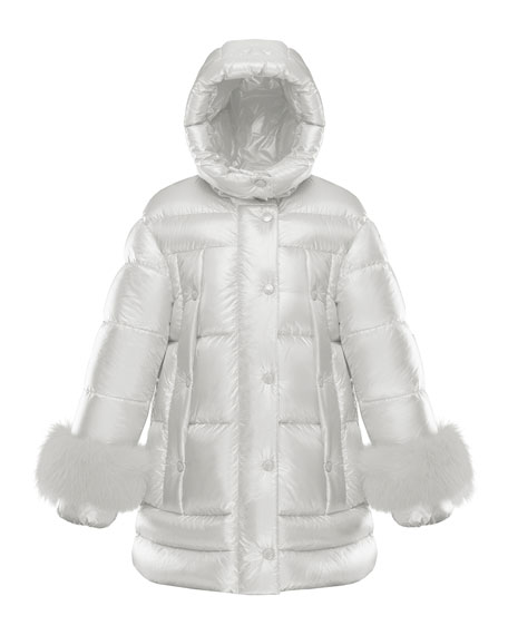 Image 1 of 1: Girl's Brionnais Quilted Long Coat w/ Fur Trim, Size 8-14