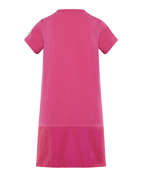 Short-Sleeve A-Line Dress w/ Side Logo Embroidery, Size 8-14