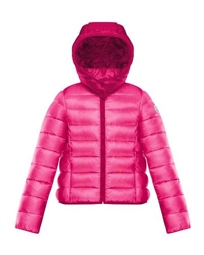 Finlande Long Season Hooded Contrast-Trim Puffer Jacket  Size 8-14
