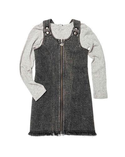 Mina Denim Zip-Up Dress w/ Striped Long-Sleeve Top  Size 2-14