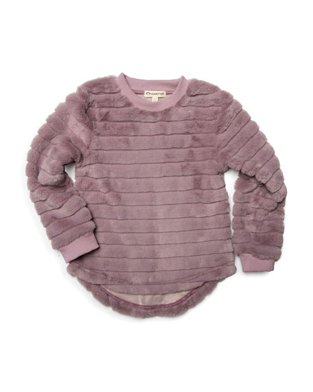 Laurel Faux-Fur Long-Sleeve Top, Size 2-14