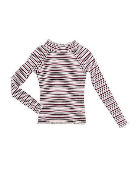 Adalynn Long-Sleeve Stripe Ribbed Top, Size 7-14