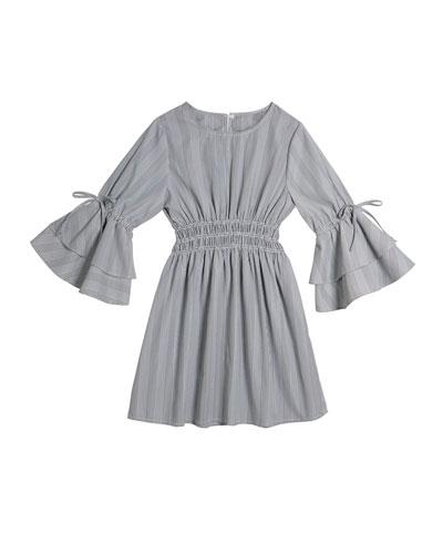 Brielle Multi-Stripe Long-Sleeve Dress  Size 7-14