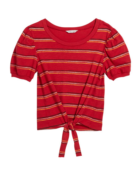 Brynlee Striped Puffy Sleeves Shirt, Size 7-14