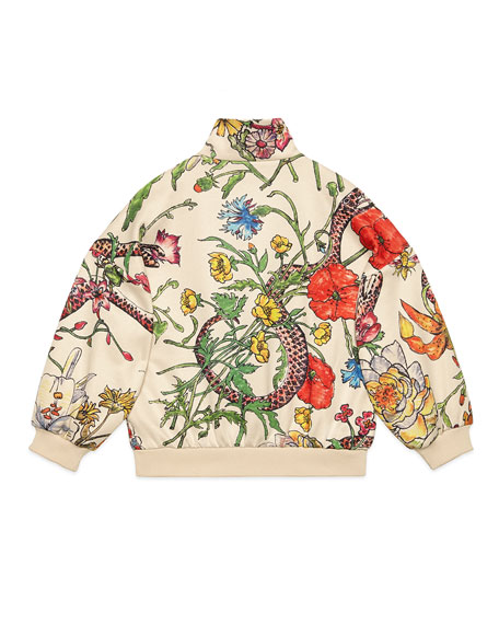 Floral Zip-Up Sweatshirt w/ Stripes & Tiger Patches, Size 4-12