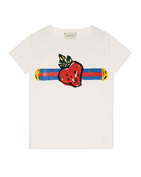 Strawberry Logo Jersey Tee, Size 4-12