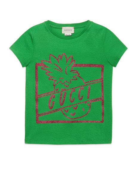 Glittered Pineapple Logo-Print Jersey Tee, Size 4-12