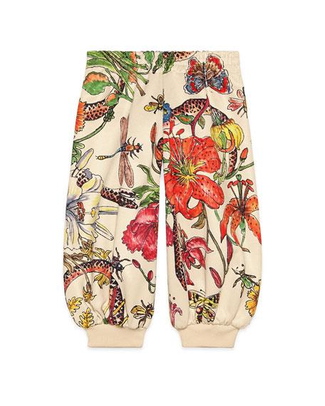 Multi Floral Print Jogger Pants, Size 4-12