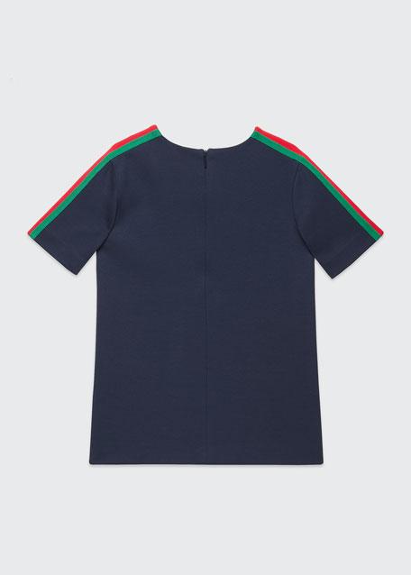 Short-Sleeve Jersey T-Shirt w/ Web Trim Sleeves, Size 4-12
