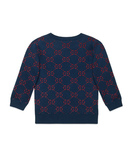 Girls' GG Printed 3/4-Sleeve Crewneck Sweater, Size 4-12