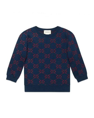 Girls' GG Printed 3/4-Sleeve Crewneck Sweater  Size 4-12