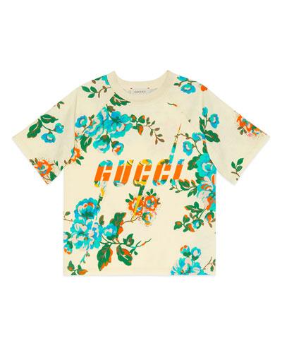 Floral-Print Logo Short-Sleeve Tee  Size 4-12
