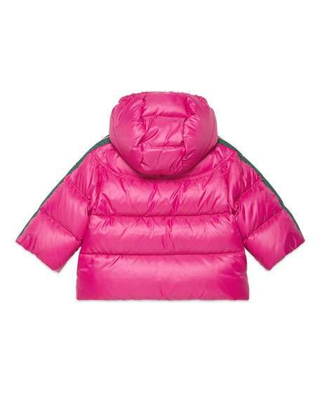 Girl's Padded Hooded Jacket w/ Logo Taping, Size 12-36 Months