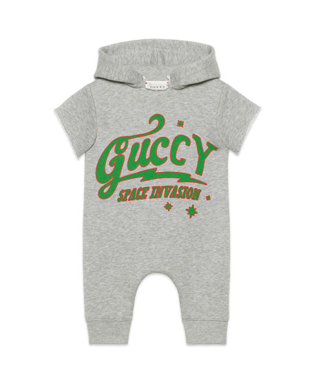 Guccy UFO Hooded Short-Sleeve Romper, Size 3-24 Months