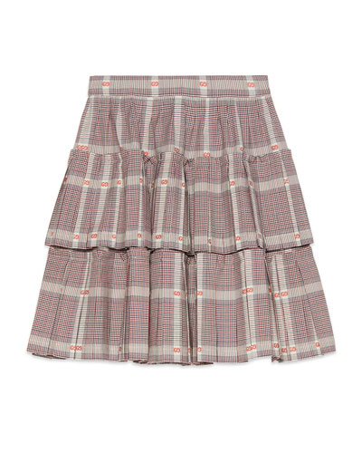 Tiered Plaid Skirt w/ GG Fil Coupe  Size 4-12