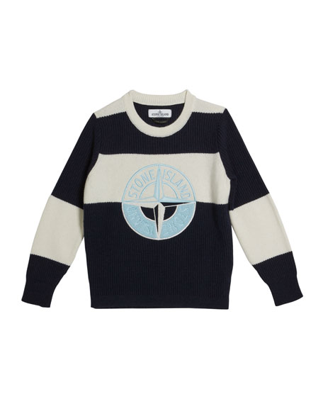 Colorblock Logo Embroidered Sweater, Size 12