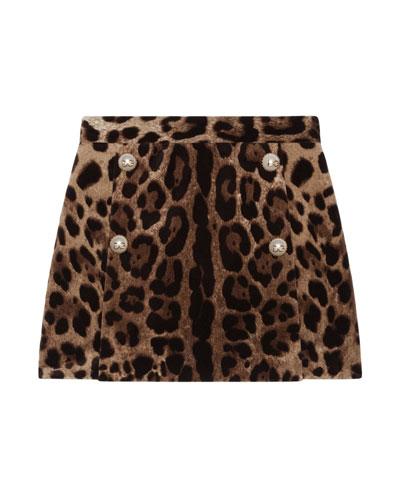 Girl's Leopard Print Velvet Skirt  Size 4-6