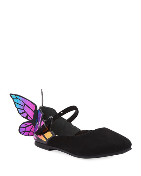 Chiara Suede Mirrored Butterfly Mary Jane Flats, Toddler/Kids