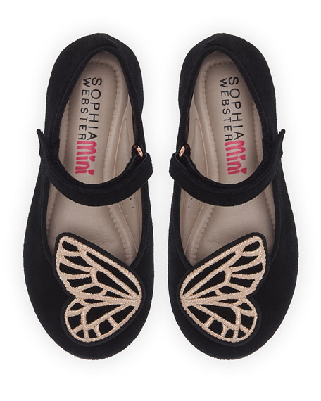 Butterfly Embroidered Suede Flats, Baby/Toddler
