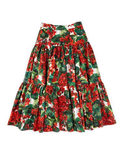 Girl's Geranium Print Tiered Poplin Skirt  Size 8-12