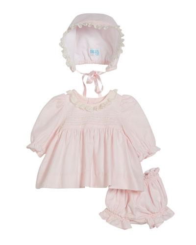 Long-Sleeve Lace Collar Dress w/ Bonnet & Bloomers  Size Newborn-9 Months