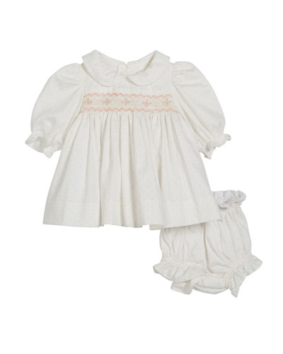 Polka-Dot Smocked Long-Sleeve Dress w/ Bloomers  Size 3-12 Months
