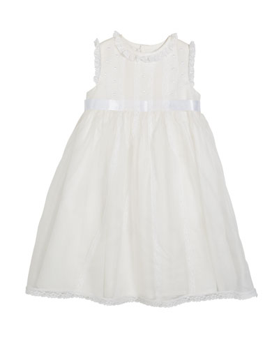 Lace-Trim Sleeveless Organza Dress  Size 5-6X