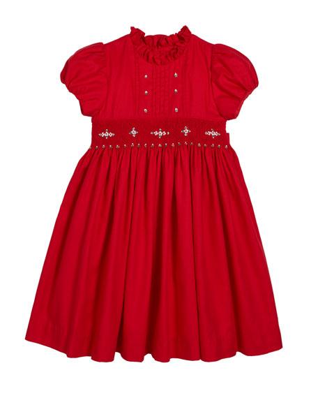 Smocked Ruffle-Collar Dress, Size 4-6X