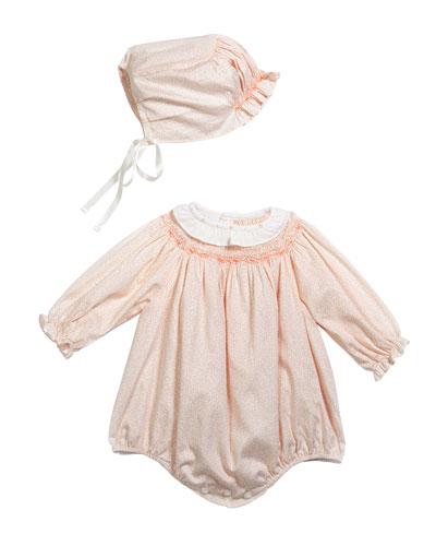 Girl's Floral Print Bishop Bubble Romper w/ Matching Bonnet  Size 3-12 Months