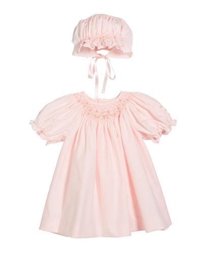 Smocked Bishop Dress w/ Matching Bonnet  Size Newborn-9 Months
