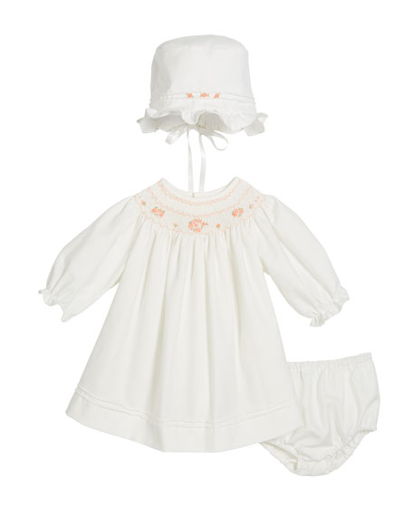 Long-Sleeve Bishop Dress w/ Bonnet & Bloomers, Size 3-12 Months