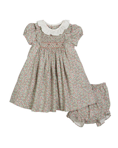 Lace Trim Short-Sleeve Dress w/ Bonnet & Bloomers  Size 12-24 Months