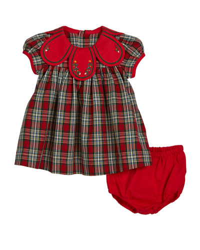 Petal Collar Tartan Plaid Dress w/ Bloomers  Size 9-24 Months
