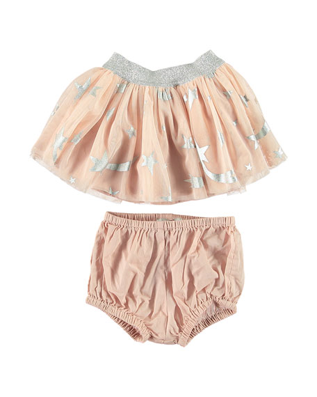 Girl's Foil Stars Tulle Skirt w/ Bloomers, Size 6-36 Months