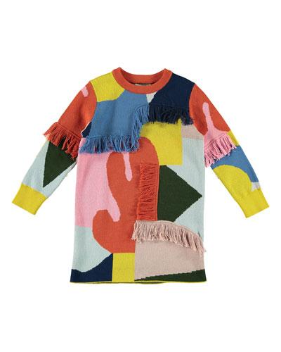 Girl's Colorblock Fringe Sweater Dress  Size 4-14